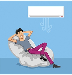 Happy Man Relax with Air conditioner vector image