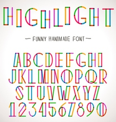 Colorful alphabet with highlighter lines vector