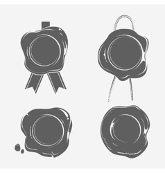 Wax seals black silhouette templates set vector