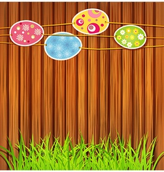 Wooden wall easter eggs vector