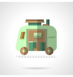 Flat color camping trailer icon vector