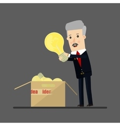 Lucky businessman has an idea business concept vector