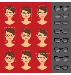 Different glasses shapes for different faces vector