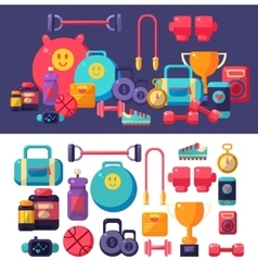 Gym objects set vector