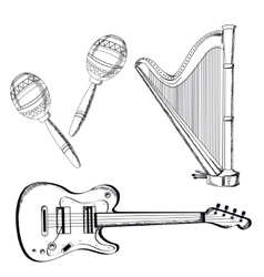 Musical instruments set on white background vector