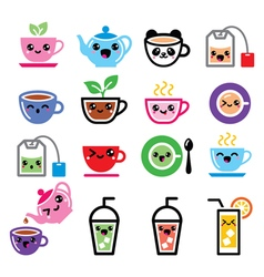 Kawaii tea tea pot ice tea cute characters vector image