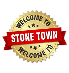 Stone town 3d gold badge with red ribbon vector
