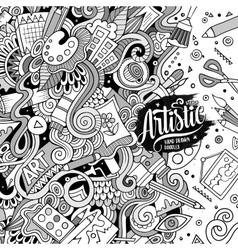 Cartoon cute art doodles hand drawn frame vector