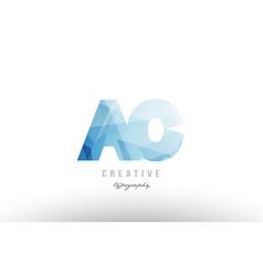 Ac a c blue polygonal alphabet letter logo icon vector