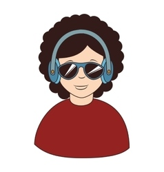 Afro hair headphones sunglasses icon vector
