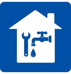 Blue plumbing symbol with house vector
