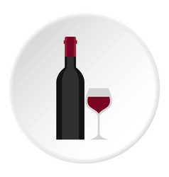 Bottle and glass icon circle vector