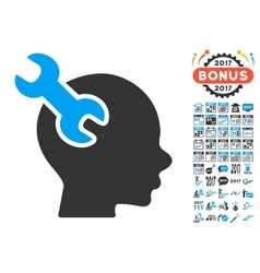 Brain service wrench icon with 2017 year bonus vector
