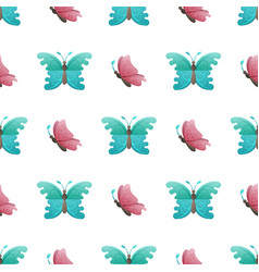 Butterflies flat seamless pattern on white vector