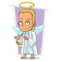 Cartoon attractive young blond angel vector