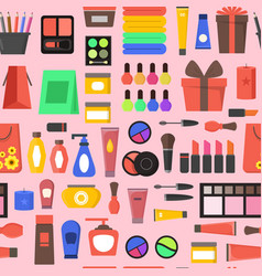 cartoon beauty cosmetics store background pattern vector image vector image