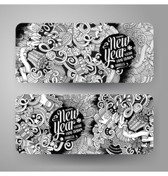 Cartoon doodles New Year holidays banners vector image