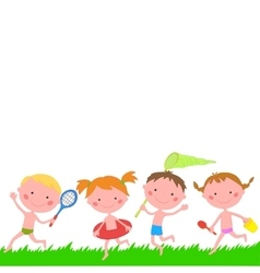 Children running on the grass with items for rest vector image