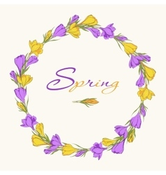 Crocus wreath 1 purple yellow vector