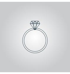 Diamond engagement ring icon vector image