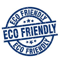 Eco friendly blue round grunge stamp vector