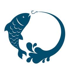 Fish jumping hook vector