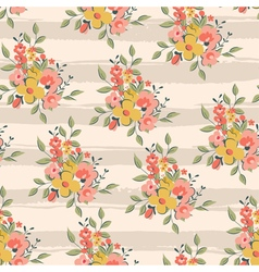 floral pattern with light pink stripes vector image vector image