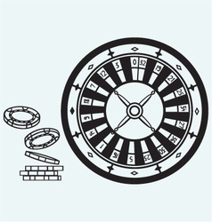 Gambling Roulette and chips vector image