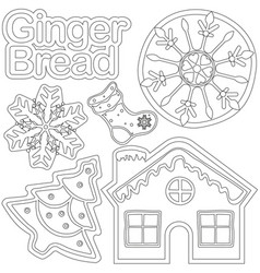 Ginger bread black and white poster - house shoe vector