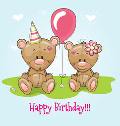 Greeting card two cute cartoon bears vector