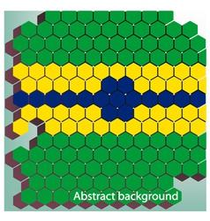 hexagon in Brazil flag concept vector image vector image