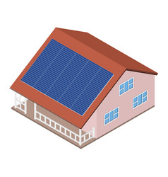 house with solar panel on roof vector image