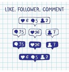 Like follower comment icons on notebook sheet vector image vector image