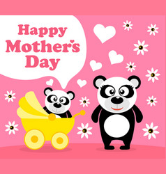 Mothers day background card with panda vector