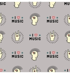 Music seamless pattern punk mohawk rock grunge vector