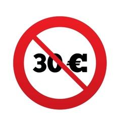 No 30 Euro sign icon EUR currency symbol vector image