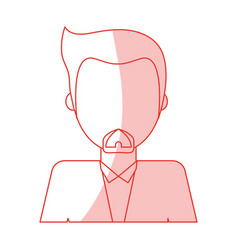 Red silhouette shading caricature faceless half vector