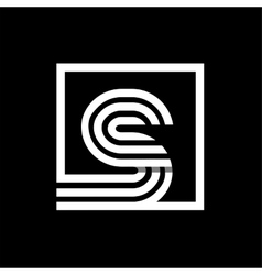 S capital letter made of stripes enclosed in a vector