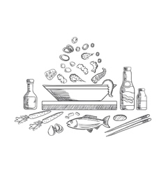 Seafood dish sketch with fish and vegetables vector