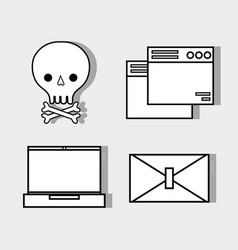 Set technology skull with bones and computer vector