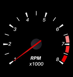 Tachometer black round scale dashboard vector