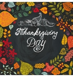 Thanksgiving dayautumn leaves in circle vector