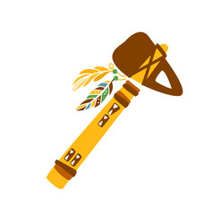Tomahawk stone axe with feather decoration native vector