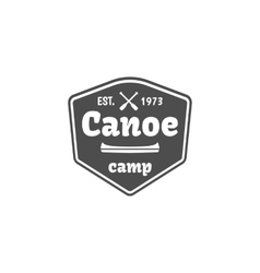Vintage mountain rafting paddling canoeing camp vector