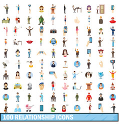 100 relationship icons set cartoon style vector