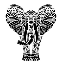 Black abstract elephant drawing vector