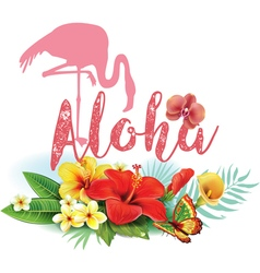Flamingoes and arrangement from tropical flowers vector