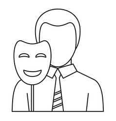 businessman holding disguise mask icon vector image