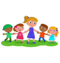Woman with group of children vector