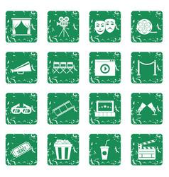 Cinema icons set grunge vector